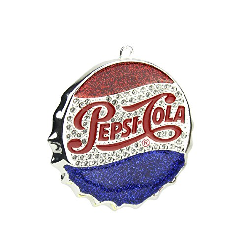 Northlight Silver Plated Classic Pepsi-Cola Bottle Cap Logo Christmas Ornament with European Crystals, 3