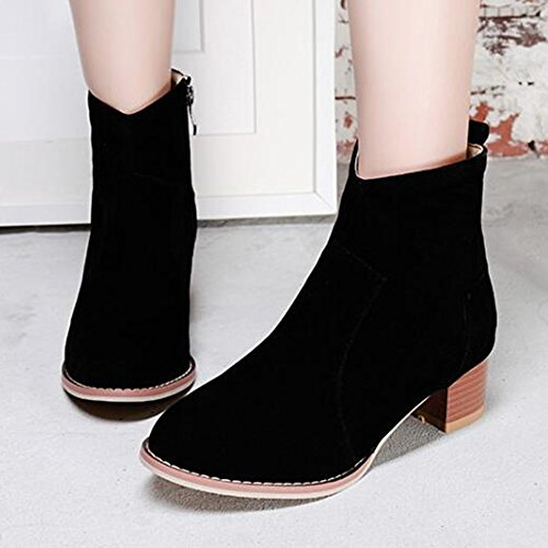 Chunky Frosted Top Stitching Boots Women's Round Black Trendy Toe Low Heel High Aisun Zipper xCwgEZvvq