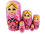 5 pcs Blonde Girl with Flowers Pink Matryoshka Babushka Doll Russian Nesting Doll Stacking Dolls Hand-painted Folk Art Dolls Wooden Dolls Kids Toys Funny Birthday Christmas Gifts Kids Room Decor