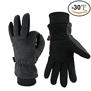 OZERO Winter Gloves -30°F Coldproof Snow Work Ski Glove - Deerskin Leather Palm & Polar Fleece Back with Insulated Cotton - Windproof Water-resistant Warm hands in Cold Weather for Women Men - Gray(L)