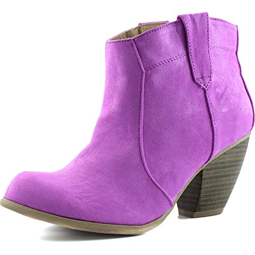 Women's Priority-53 Western Cowboy Ankle Bootie Fashion Round Toe Boots, 6 (Womens Cowboy Boots Purple)