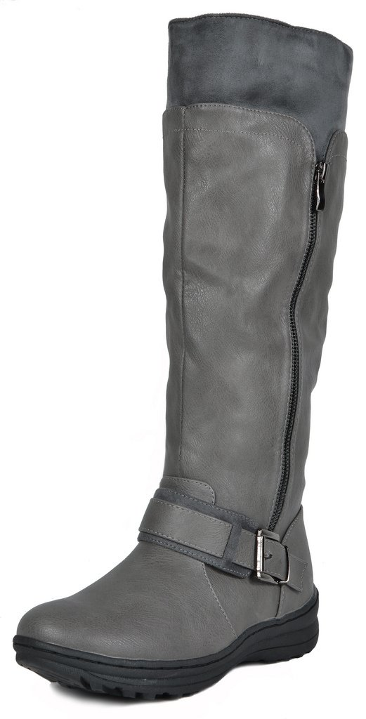 DREAM PAIRS Women's New Siberian Grey Faux Fur Lined Knee High Winter Snow Boots Wide Calf Size 10 B(M) US