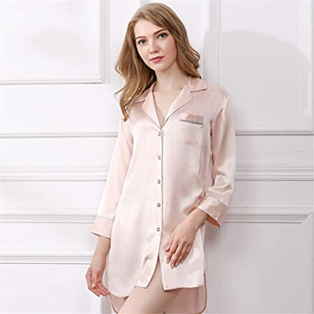 BUTTERFLYSILK Camisa de Dormir para Mujer, camisón de Seda 100% Camisa de Dormir de Manga Larga Camisón de Mujer Camisa de Dormir Abotonada Ropa de Dormir Ropa de Dormir,Rosado,L: Amazon.es: Hogar