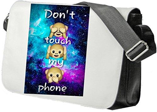 """Schultertasche """"Dont Touch my Phone Drei Affen Sehen Hören Sagen"""" Schultasche, Sidebag, Handtasche, Sporttasche, Fitness, Rucksack, Emoji, Smiley"""