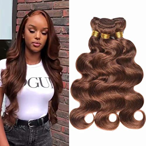 Light Brown Human Virgin Hair 3 Bundles Indian Remy Body Wave Human Virgin Hair Weave Extension Bundles Unprocessed Natural Brown Human Hair Bundles(Color 4, 12 14 16inch)