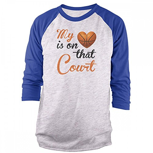 Vine Fresh Tees - My Heart is On That Court - Basketball 3/4 Sleeve Raglan T-Shirt - X-Large, Ash w/Royal