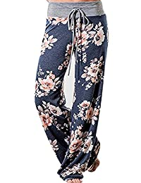 Freemale Womens Casual Floral Print Drawstring Palazzo Wide Leg Lounge Pajama Pants
