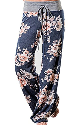 NEWCOSPLAY Women's High Waist Casual Floral Print Drawstring Wide Leg Pants (XXXL, K052-blue)