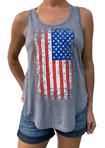SoRock Women's USA American Flag Distressed Grey Flowy Tank Large