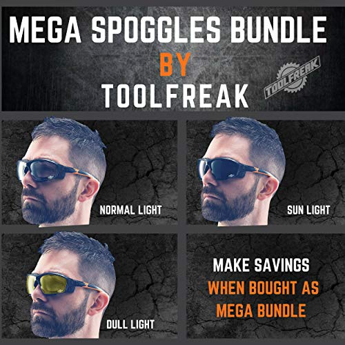 ToolFreak Spoggles Work & Sports Safety Glasses, Clear, Smoke & Yellow Tinted Lens Mega Bundle Offer, Foam Padded, ANSI z87 Rated with Impact & UV Protection by ToolFreak (Image #2)