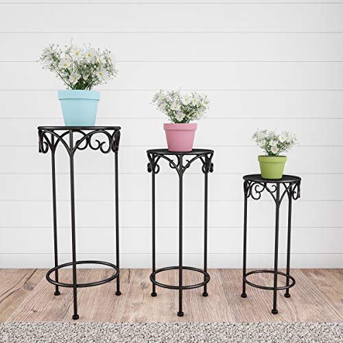 Pure Garden 50-LG1147 Stands - Set of 3 Indoor or Outdoor Nesting Wrought Iron Metal Round Decorative Potted Plant Accent Display Accessories (Black) (Stand Plant Single)
