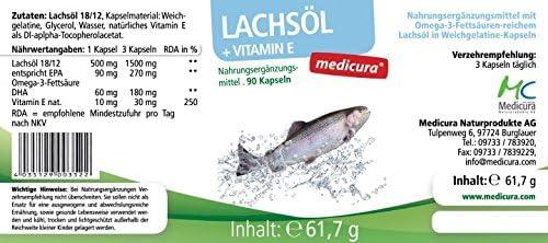 Medicura Lachsöl + Vitamin E - 90 Kapseln - 61,7 g