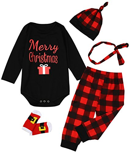 Giwawa 5PCS Baby Boys Girls Christmas Gift Pants Clothing Sets with Socks