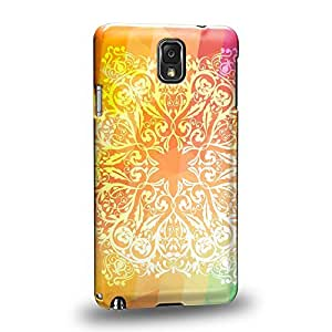 Case88 Premium Designs Art Rainbow Doodle Doilies Pattern Protective Snap-on Hard Back Case Cover for Samsung Galaxy Note 3