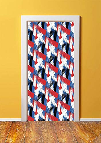 (Abstract 3D Door Sticker Wall Decals Mural Wallpaper,Geometric Grunge Bold Stripes with Artistic Brushstrokes Motif,DIY Art Home Decor Poster Decoration 30.3x78.5082,Violet Blue White Red Black)