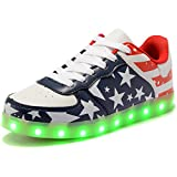 HengVanTong USB Charging 11 Colors LED Shoes , Light Up Flashing Fashion Sneakers For Mens & Womens , Blue 44