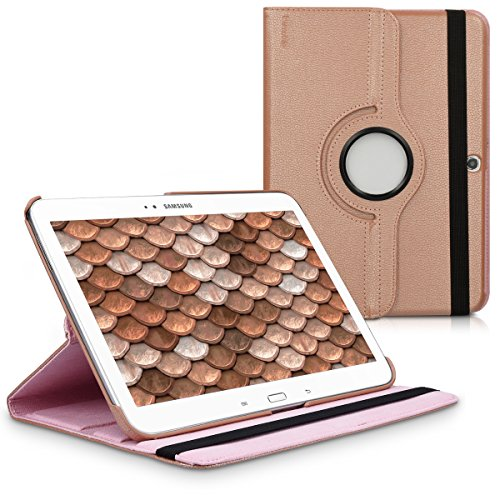 kwmobile 360° Case for Samsung Galaxy Tab 3 10.1 P5200/P5210 - PU Leather Protective Tablet Cover with Stand Function - Rose Gold