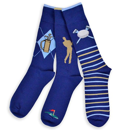 Golf Socks - TeeHee Men's Golf Cotton Crew Socks 3-Pairs Assorted (Navy)