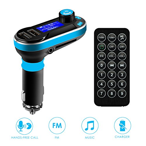 - SOONHUA Car Bluetooth FM Transmitter, Wireless in-Car Radio Bluetooth Adapter 5in1 Car Kit Music Player Hand-Free Calling with Remote AUX Cable Dual USB Support SD/TF Card for iPhone Samsung (Blue)
