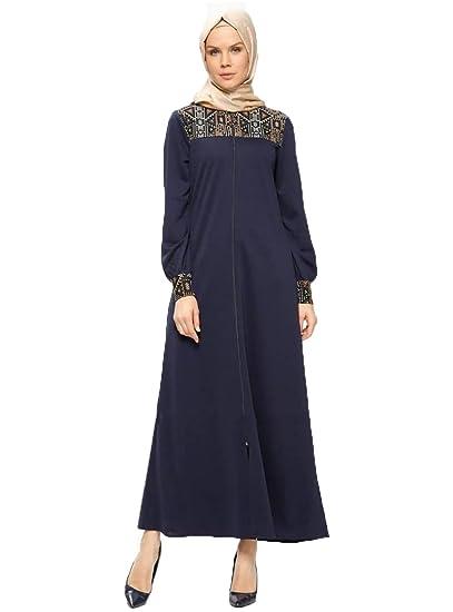 568cccae324 Amazon.com  Miss Cazibe TuTurkish Navy Blue Unlined Crew Neck Modesty Abaya  Long Dress Arabic Koftan for Muslim Women  Clothing
