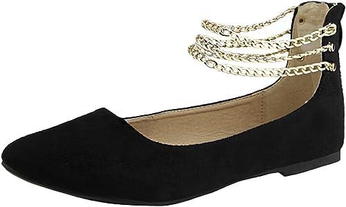 Chain Ankle Strap Zip Back Flat Shoe