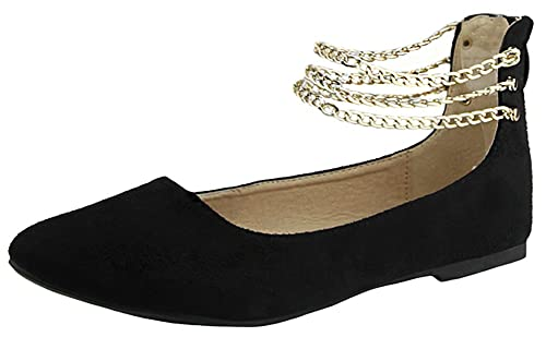 a33fcf82220f ANNA Women s Chain Ankle Strap Zip Back Flat Shoe (8.5 B(M) US