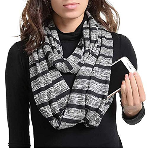 Price comparison product image Clearance Sale! MatureGirl Women Solid Winter Convertible Infinity Scarf Pocket Loop Zipper Pocket Scarves (Black)