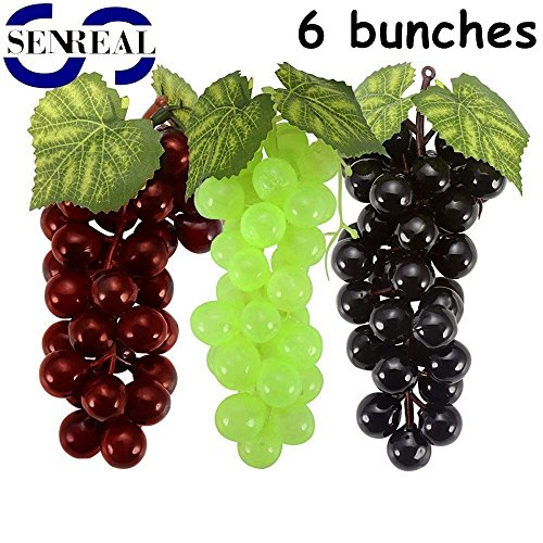 SENREAL 6 Bunch Fake Grapes Realistic Artificial Grapes Lifelike Fake Fruit Plastic Decorative Fruit Pub Party Home Kitchen Cabinet Ornament Fake Plastic Grapes Bunch Of Grapes