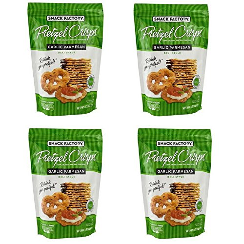 Snack Factory Garlic Parmesan Pretzel Crisps, 7.2 oz (4 Packs)