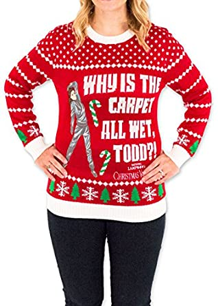 Women's Christmas Vacation Carpet All Wet Todd Ugly Sweater in Red ...