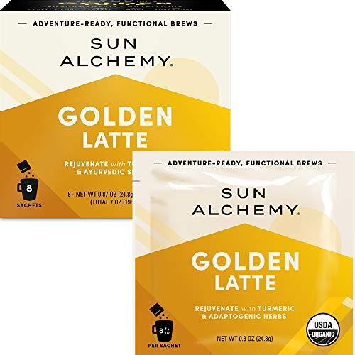 Sun Alchemy Golden Latte, Rejuvenate with Organic Turmeric, MCT Oil, Coconut Milk & Ayurvedic Spices - 8 Sachets | Just Add Water & Enjoy