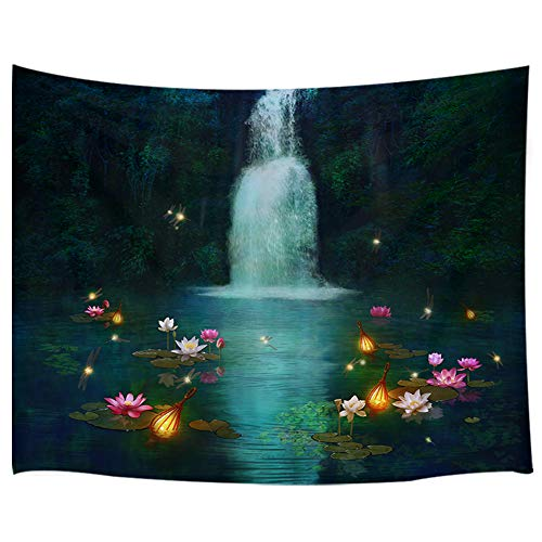 KOTOM 3D Waterfall Scenery Tapestry, Wiht Lilies and Dragonflies at Fantasy Pond, Wall Art Hanging Blankets Home Decor for Bedroom Living Room Dorm, 80x60 Inches
