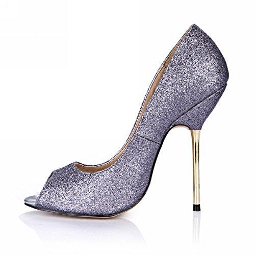 DolphinGirl Women Fashion Glitter Peep Toe High Heels D'Orsay Pump Stiletto SM00190 Shiny Grey RLrTgrh6NS
