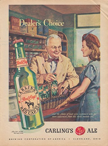 Dealer's Choise Carling's Red Cap Ale ad 1946 woman in liquor store
