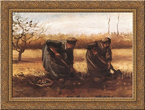Two peasant women digging potatoes 24x18 Gold Ornate Wood Framed Canvas Art by Vincent van Gogh