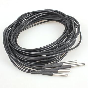 VKtech DS18b20 Set di 5 sensori di temperatura impermeabili 3m