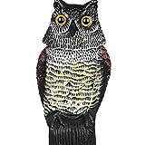 RioRand Highly Realistic Plastic Owl Decoy Weed Pest Control Garden Bird Scarer Scarecrow w/ Rotating Head