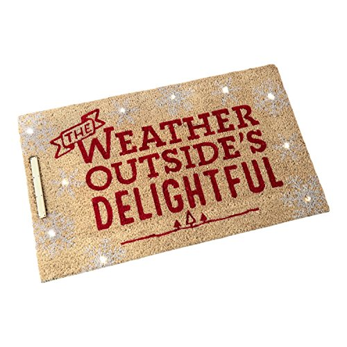 Hallmark Home Natural Coir Step Activated Lighted Doormat, Holiday