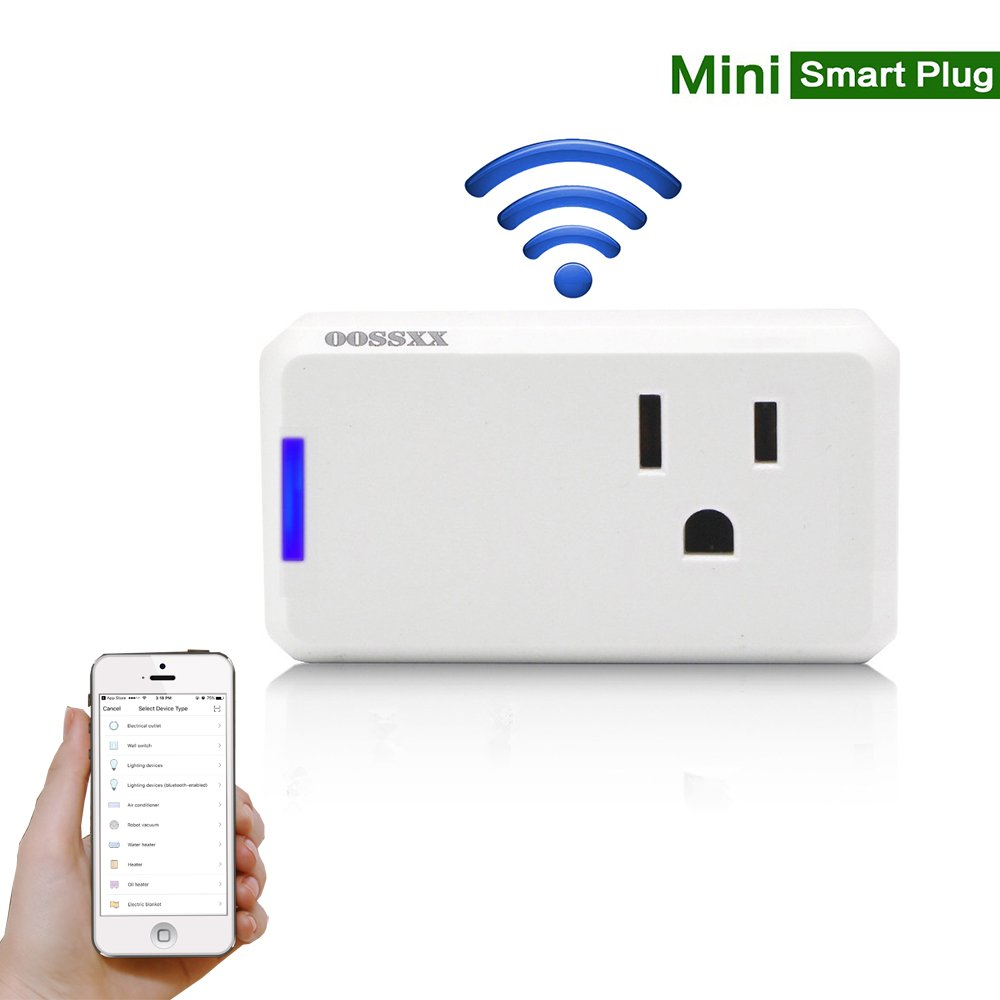 Superior Quality Mini Wifi-Enabled Smart Outlet By OOSSXX - No-Hub Wireless Plug - Compatible With Lights, Home Appliances - Remote Control With Smartphone/Tablet - Works W/Amazon Alexa
