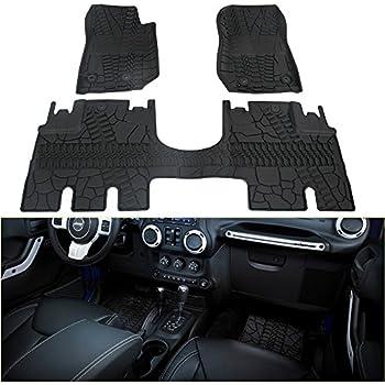WINUNITE Front and Rear Black Slush Floor Mats for 2014-2018 Jeep Wrangler JK 4 Door Unlimited All Weather Guard TPE Floor Carpet Liner Set for Jeep ...