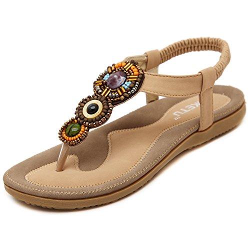 D2C Beauty Womens Summer Bohemian Flat Beads Thong Sandals Apricot-2