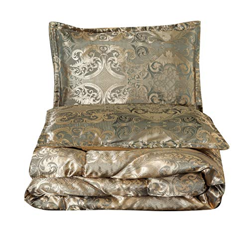 Gold Queen Comforter - NTBED Luxury Comforter Set Queen, Jacquard Brushed Quilt Bedding Sets (Gold, Queen)