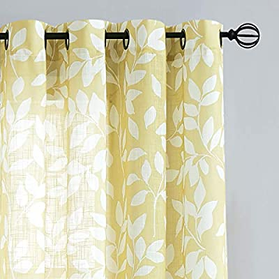 Natwin Leaf Print Sheer Curtains 55 X 63 Yellow Lfpsc63yl Buy Online At Best Price In Uae Amazon Ae