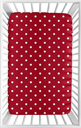 Sweet JoJo Designs Red and White Polka Dot Baby Girl Fitted Mini Portable Crib Sheet for Ladybug Collection - for Mini Crib or Pack and Play ONLY