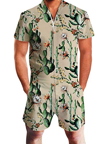Men's Rompers Male Zipper Jumpsuit Shorts Cactus Prickly Pear Printed One Piece Slim Fit Outfits Bro Short Sleeve Overalls