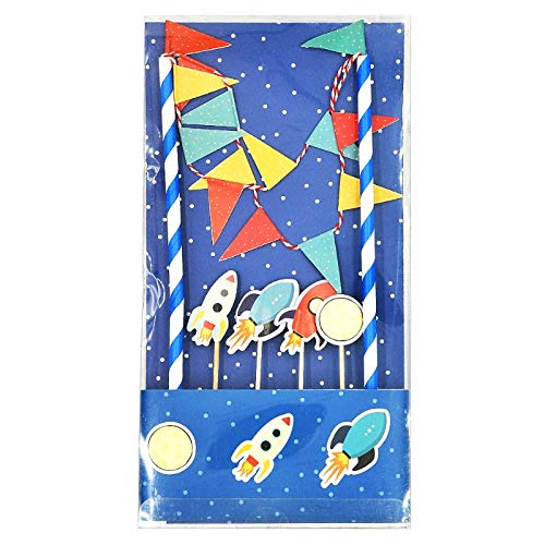 Lolipapa Cute Spaceship Cake Bunting Banner Topper Kit for Kids Birthday Party, Baby Shower, Cake -