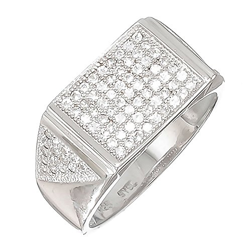 Size 13 Men's Solid .925 Sterling Silver Rhodium Plated Ring Iced Out with Real Micro Pave CZ Stones ()
