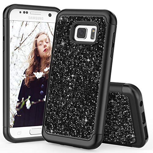TILL for Galaxy S7 Edge Case, TILL Luxury [Sparkle Sequins] Bling Shiny Color Glitter Girls Defender Dual Layer TPU Soft Inner Hard PC Protective Cute Case Cover Shell for Galaxy S7 Edge N935 [Black]