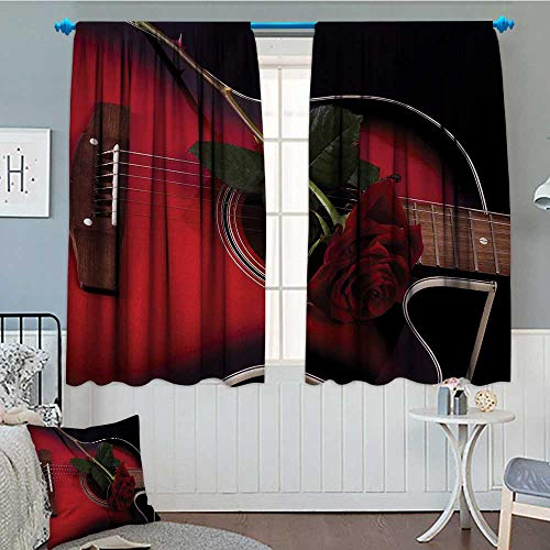 Anniutwo Red and Black Blackout Window Curtain Spanish Musician Portugal Hand Made Guitar with Romance Theme Love Rose Customized Curtains 55