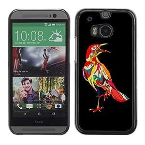 TopCaseStore / la caja del caucho duro de la cubierta de protección de la piel - Psychedelic Pattern Bird Raven - HTC One M8